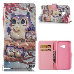Purple Owl 3D Painted Leather Wallet Case for Samsung Galaxy Xcover 4 G390F