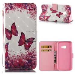Rose Butterfly 3D Painted Leather Wallet Case for Samsung Galaxy Xcover 4 G390F