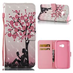 Plum Girl 3D Painted Leather Wallet Case for Samsung Galaxy Xcover 4 G390F