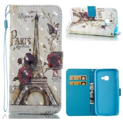 Flower Eiffel Tower 3D Painted Leather Wallet Case for Samsung Galaxy Xcover 4 G390F