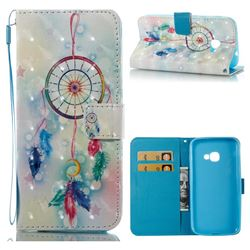 Feather Wind Chimes 3D Painted Leather Wallet Case for Samsung Galaxy Xcover 4 G390F