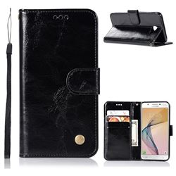 Luxury Retro Leather Wallet Case for Samsung Galaxy Xcover 4 G390F - Black