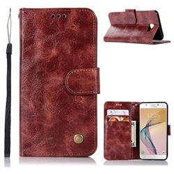 Luxury Retro Leather Wallet Case for Samsung Galaxy Xcover 4 G390F - Wine Red