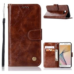Luxury Retro Leather Wallet Case for Samsung Galaxy Xcover 4 G390F - Brown