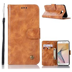 Luxury Retro Leather Wallet Case for Samsung Galaxy Xcover 4 G390F - Golden