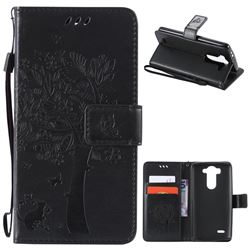 Embossing Butterfly Tree Leather Wallet Case for LG G3 Beat Mini G3S D725 D722 D729 B2mini - Black