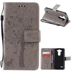 Embossing Butterfly Tree Leather Wallet Case for LG G3 Beat Mini G3S D725 D722 D729 B2mini - Grey