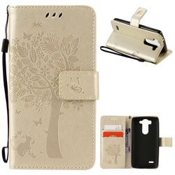 Embossing Butterfly Tree Leather Wallet Case for LG G3 Beat Mini G3S D725 D722 D729 B2mini - Champagne
