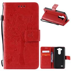 Embossing Butterfly Tree Leather Wallet Case for LG G3 Beat Mini G3S D725 D722 D729 B2mini - Red