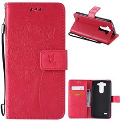Embossing Butterfly Tree Leather Wallet Case for LG G3 Beat Mini G3S D725 D722 D729 B2mini - Rose