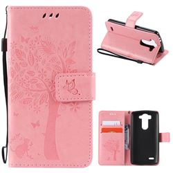 Embossing Butterfly Tree Leather Wallet Case for LG G3 Beat Mini G3S D725 D722 D729 B2mini - Pink