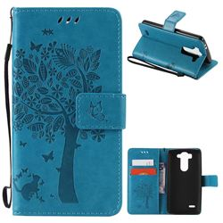Embossing Butterfly Tree Leather Wallet Case for LG G3 Beat Mini G3S D725 D722 D729 B2mini - Blue