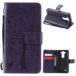 Embossing Butterfly Tree Leather Wallet Case for LG G3 Beat Mini G3S D725 D722 D729 B2mini - Purple