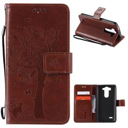 Embossing Butterfly Tree Leather Wallet Case for LG G3 Beat Mini G3S D725 D722 D729 B2mini - Brown