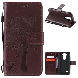 Embossing Butterfly Tree Leather Wallet Case for LG G3 Beat Mini G3S D725 D722 D729 B2mini - Coffee