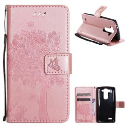 Embossing Butterfly Tree Leather Wallet Case for LG G3 Beat Mini G3S D725 D722 D729 B2mini - Rose Pink