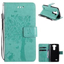 Embossing Butterfly Tree Leather Wallet Case for LG G3 Beat Mini G3S D725 D722 D729 B2mini - Cyan