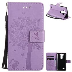Embossing Butterfly Tree Leather Wallet Case for LG G3 Beat Mini G3S D725 D722 D729 B2mini - Violet