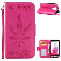 Intricate Embossing Maple Leather Wallet Case for LG G3 Beat Mini G3S D725 D722 D729 B2mini - Rose