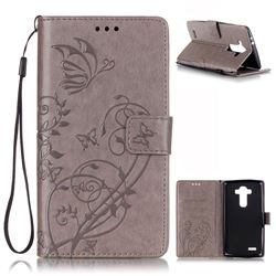 Embossing Butterfly Flower Leather Wallet Case for LG G4 - Grey