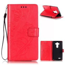 Embossing Butterfly Flower Leather Wallet Case for LG G4 - Red