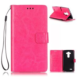 Embossing Butterfly Flower Leather Wallet Case for LG G4 - Rose