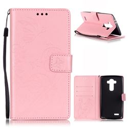 Embossing Butterfly Flower Leather Wallet Case for LG G4 - Pink