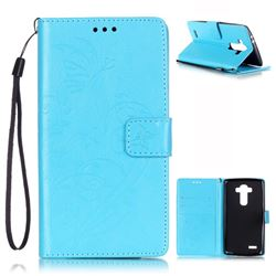 Embossing Butterfly Flower Leather Wallet Case for LG G4 - Blue