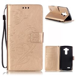 Embossing Butterfly Flower Leather Wallet Case for LG G4 - Champagne