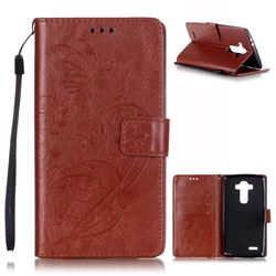 Embossing Butterfly Flower Leather Wallet Case for LG G4 - Brown