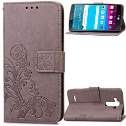 Embossing Imprint Four-Leaf Clover Leather Wallet Case for LG G4 - Gray