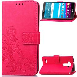 Embossing Imprint Four-Leaf Clover Leather Wallet Case for LG G4 - Rose
