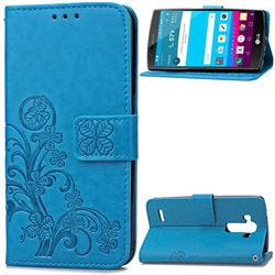 Embossing Imprint Four-Leaf Clover Leather Wallet Case for LG G4 - Blue