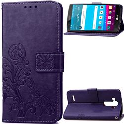 Embossing Imprint Four-Leaf Clover Leather Wallet Case for LG G4 - Purple
