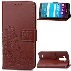 Embossing Imprint Four-Leaf Clover Leather Wallet Case for LG G4 - Brown