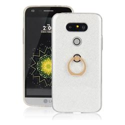 Luxury Soft TPU Glitter Back Ring Cover with 360 Rotate Finger Holder Buckle for LG G5 - White