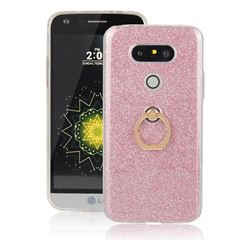 Luxury Soft TPU Glitter Back Ring Cover with 360 Rotate Finger Holder Buckle for LG G5 - Pink