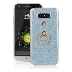 Luxury Soft TPU Glitter Back Ring Cover with 360 Rotate Finger Holder Buckle for LG G5 - Blue