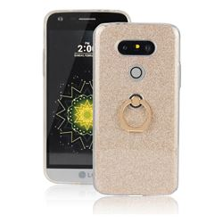 Luxury Soft TPU Glitter Back Ring Cover with 360 Rotate Finger Holder Buckle for LG G5 - Golden