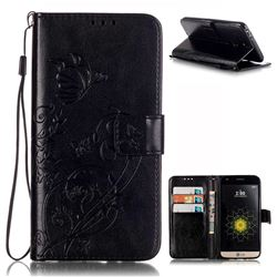 Embossing Butterfly Flower Leather Wallet Case for LG G5 - Black