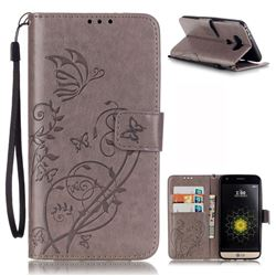 Embossing Butterfly Flower Leather Wallet Case for LG G5 - Grey