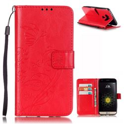 Embossing Butterfly Flower Leather Wallet Case for LG G5 - Red