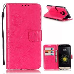 Embossing Butterfly Flower Leather Wallet Case for LG G5 - Rose