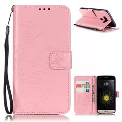Embossing Butterfly Flower Leather Wallet Case for LG G5 - Pink