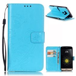 Embossing Butterfly Flower Leather Wallet Case for LG G5 - Blue
