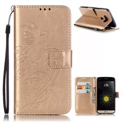 Embossing Butterfly Flower Leather Wallet Case for LG G5 - Champagne
