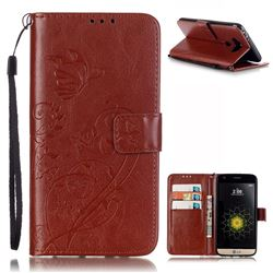 Embossing Butterfly Flower Leather Wallet Case for LG G5 - Brown