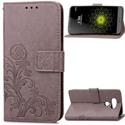 Embossing Imprint Four-Leaf Clover Leather Wallet Case for LG G5 - Gray