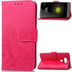 Embossing Imprint Four-Leaf Clover Leather Wallet Case for LG G5 - Rose