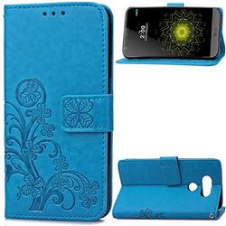 Embossing Imprint Four-Leaf Clover Leather Wallet Case for LG G5 - Blue